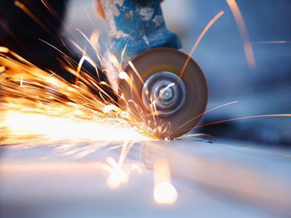 13740198 – metal sawing close up