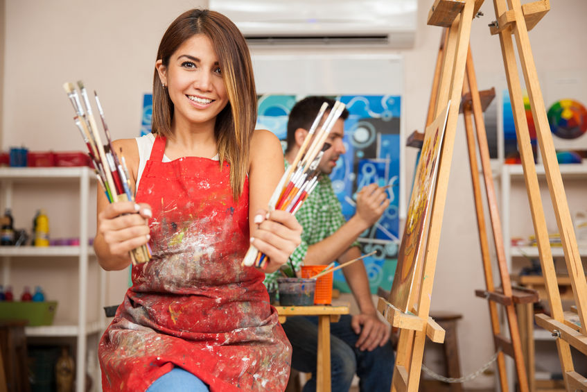 Cute art student loves to paint