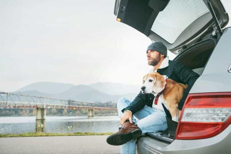 Uomo con cane nel bagagliaio