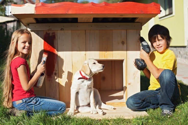 Small house with dog and two children