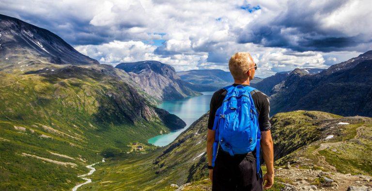 Ragazzo con lo zaino sulle spalle che guarda un panorama