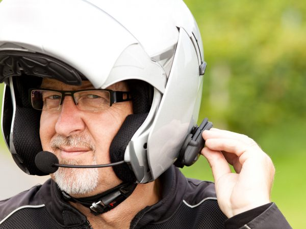 Motorcyclist with hands-free phone system