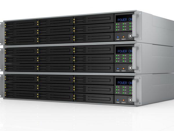 16644379 – one pile of three server racks with nine hd slots, powered on (3d render)
