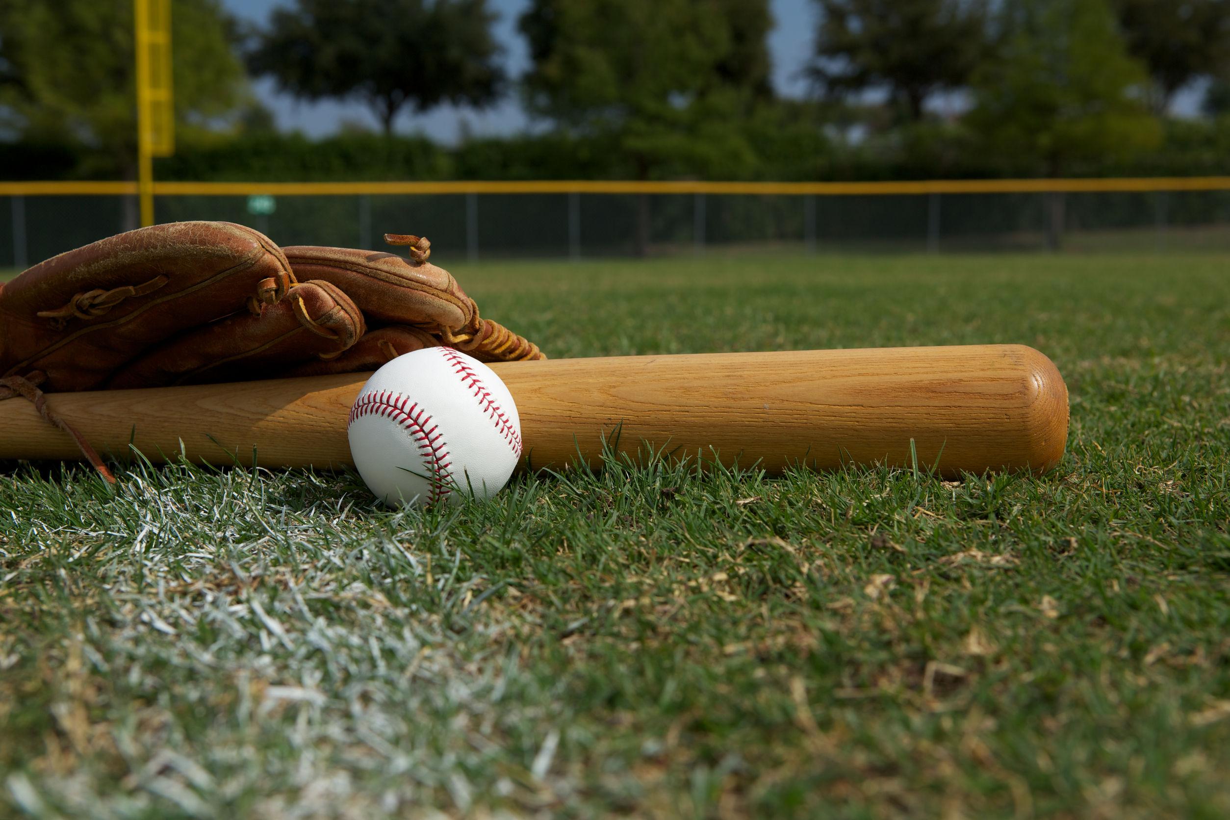 Guantone, palla e mazza da baseball