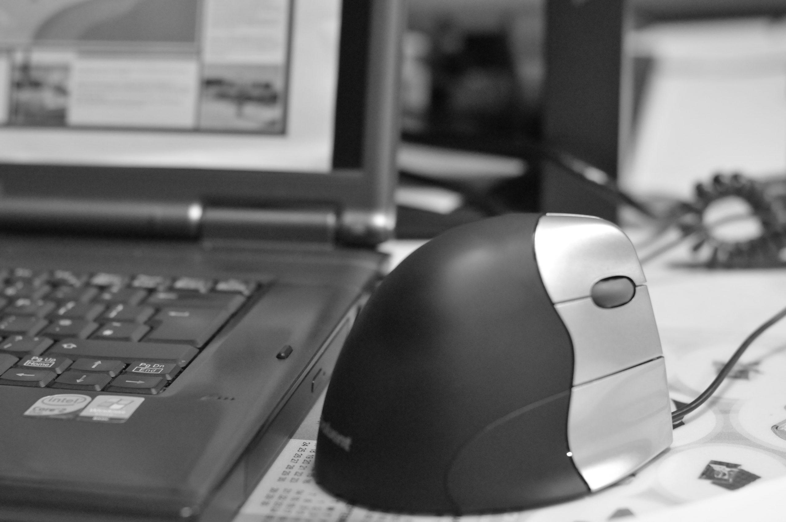 Foto in bianco e nero di un mouse verticale