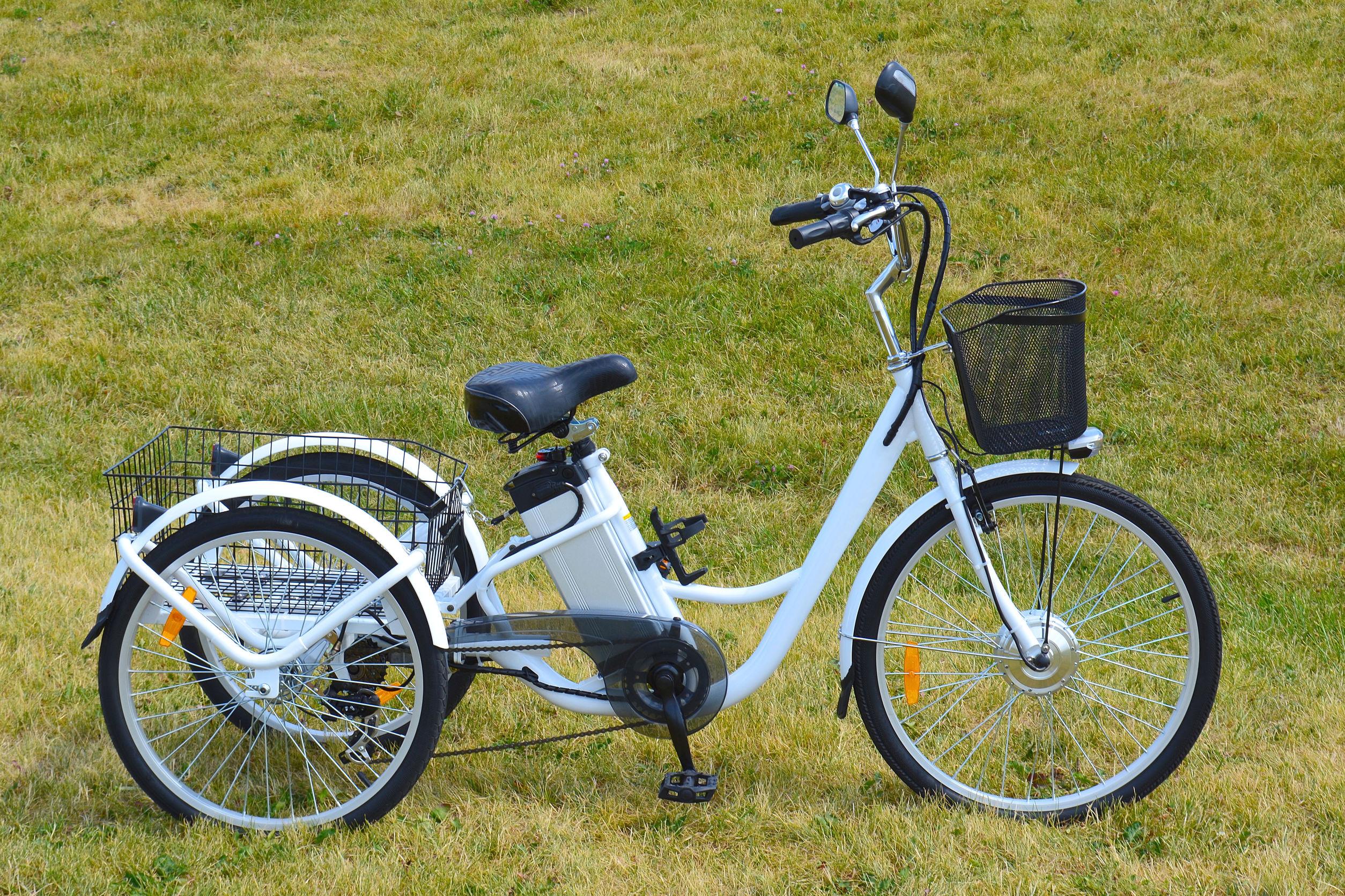 Una bicicletta elettrica a tre ruote