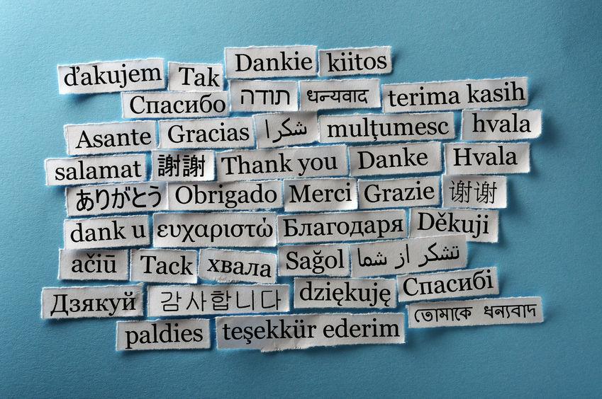 Grazie scritto in diverse lingue