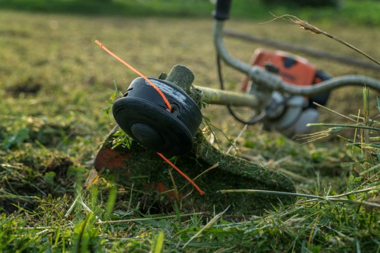 Primo piano su un decespugliatore nell'erba
