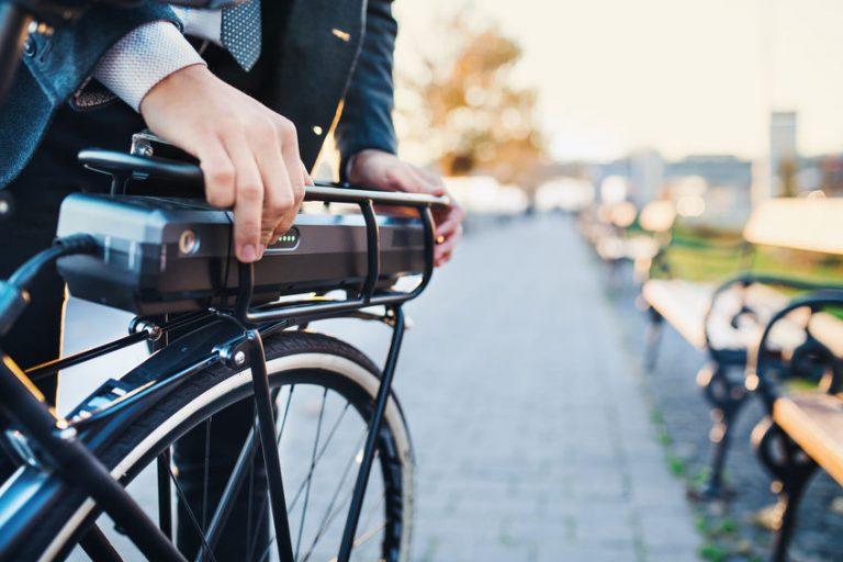 Particolare di una bicicletta elettrica