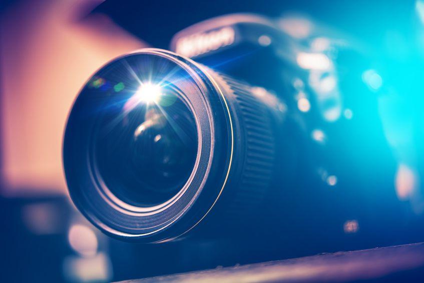 Obiettivo di fotocamera in primo piano