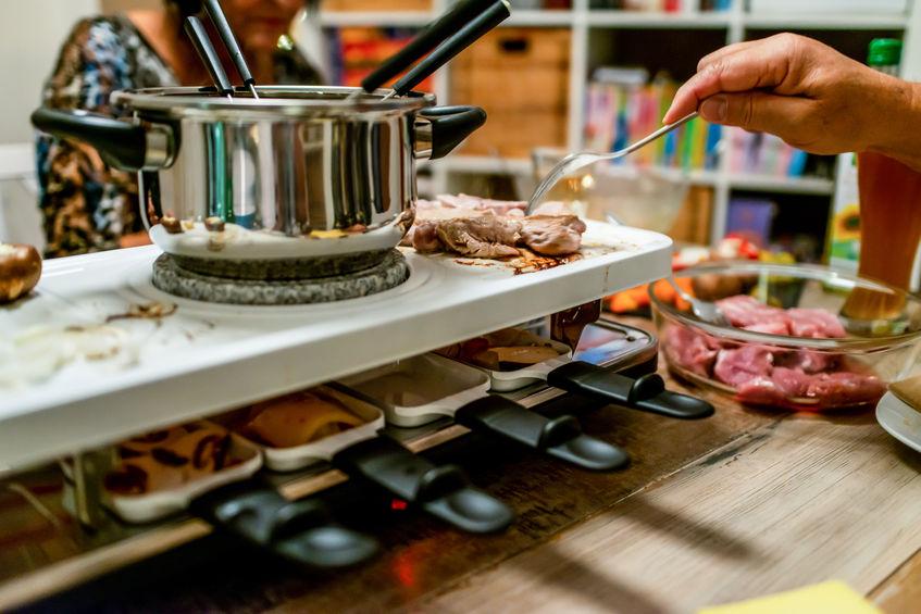 Una raclette con fondue