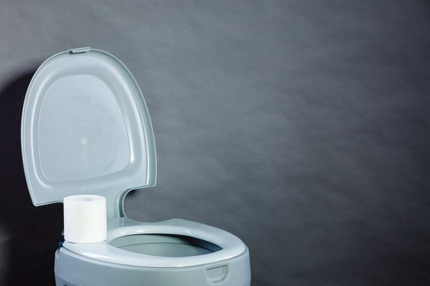 Particolare di un WC portatile