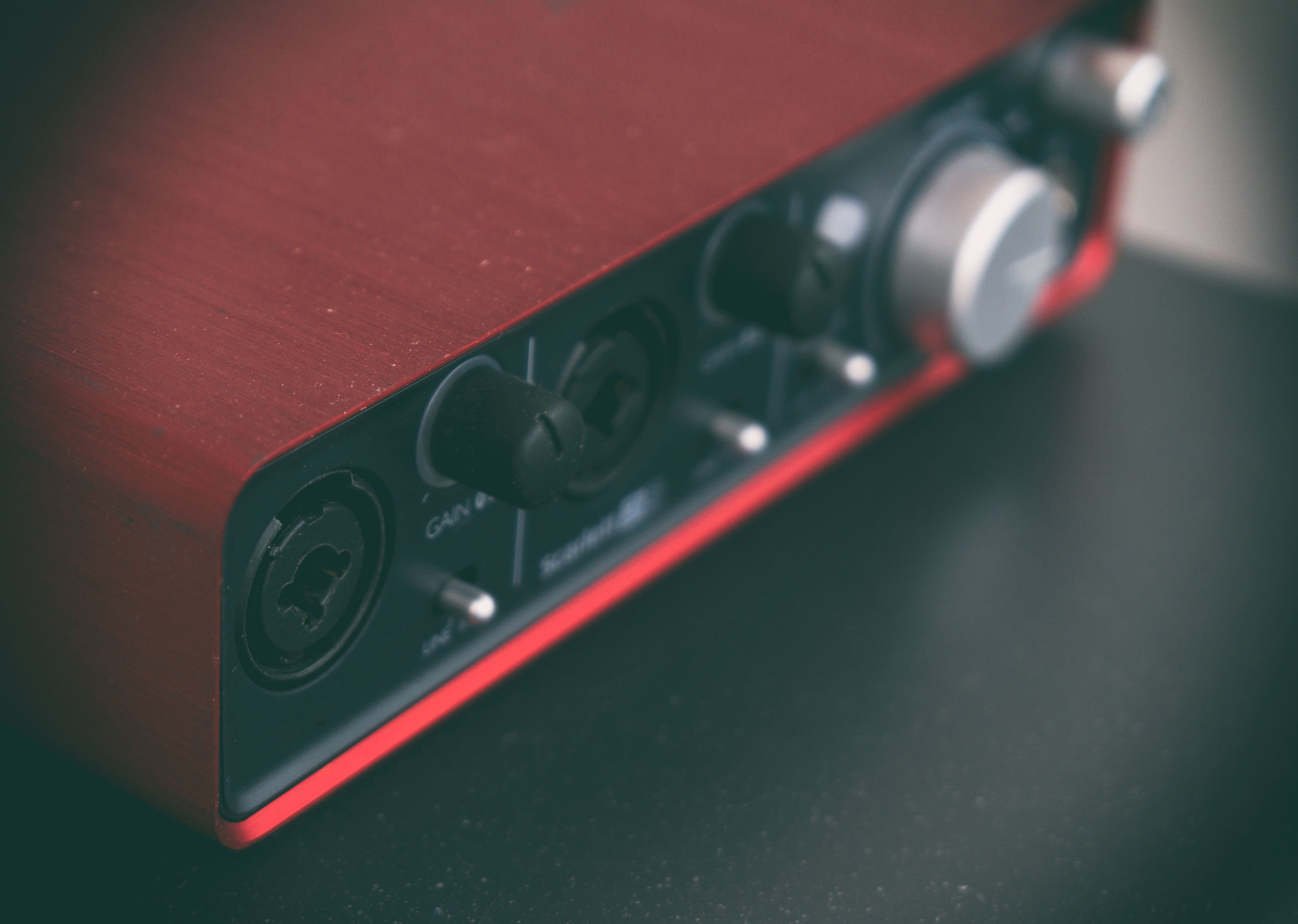 Close-up view of Professional portable red sound card.