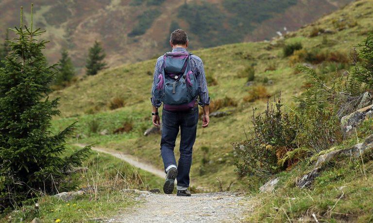Uomo che cammina in mezzo alla natura