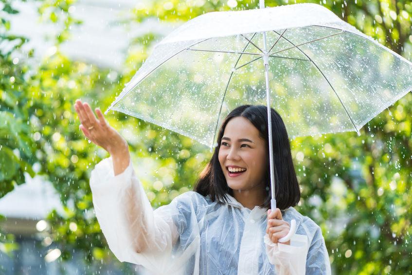 Donna felice sotto l'ombrello