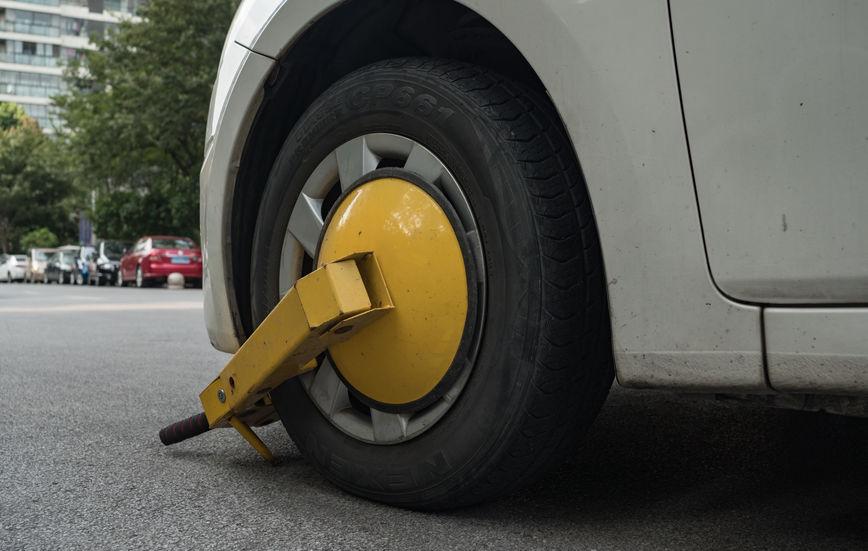 Particolare su una ruota bloccata