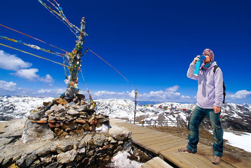 Persona in alta montagna