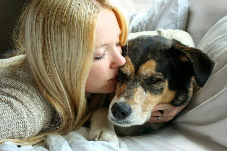 Una mujer acariciando a un perro