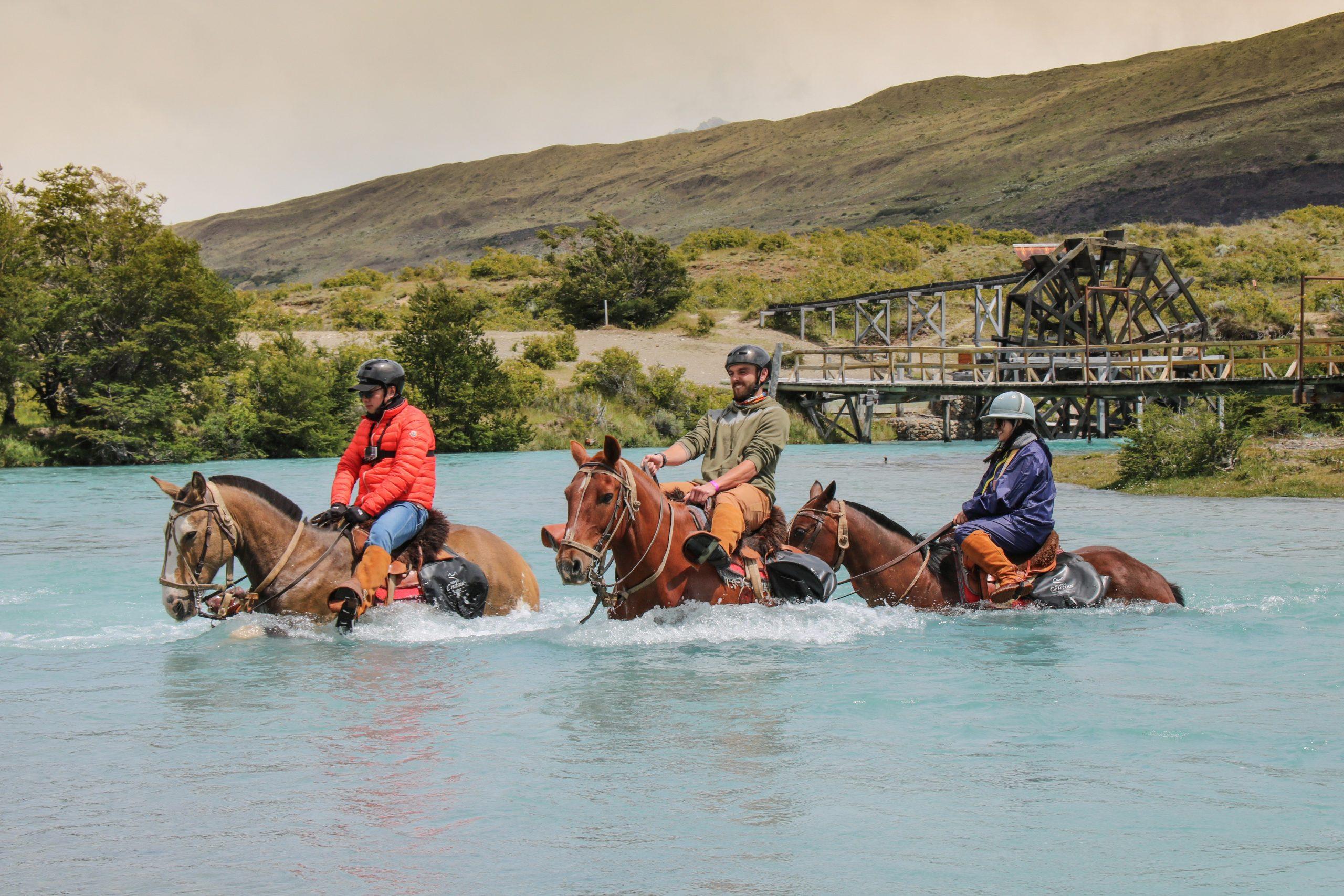 caballos en el rio