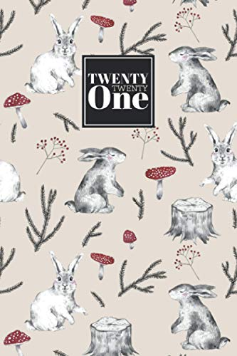 2021: Diary Day to Page A5 Full Day to View Daily Planner | Lined Writing Journal | Neutral Tan, Grey, & Red Cute Watercolour Forest Animals