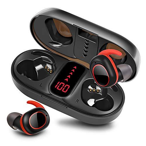 bakibo Auricolari Senza Fili Bluetooth 5.1, Sportivi Wireless Cuffie con Microfono IPX7 Sport Stereo MiniAuricolari Con 800 mAh LCD Custodia Ricarica, 40 Ore Di Riproduzione, Tocca Controllo
