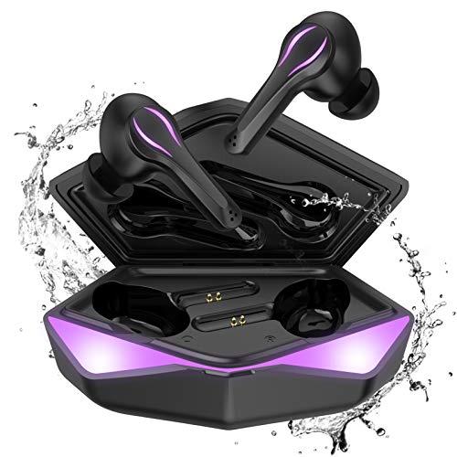Cuffie Bluetooth Gaming, Kingstar Con Microfono Bluetooth 5 Auricolari Con Filo Wireless microfono In-ear, Low Latency Ipx5 Auto Pairing Touch Attivazione Gaming Cuffie per PC Mobile Phone