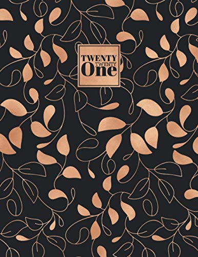 2021: Diary Day to Page A4 Full Day to View Daily Planner | Lined Writing Journal | Black & Gold Vines Leaves Pattern