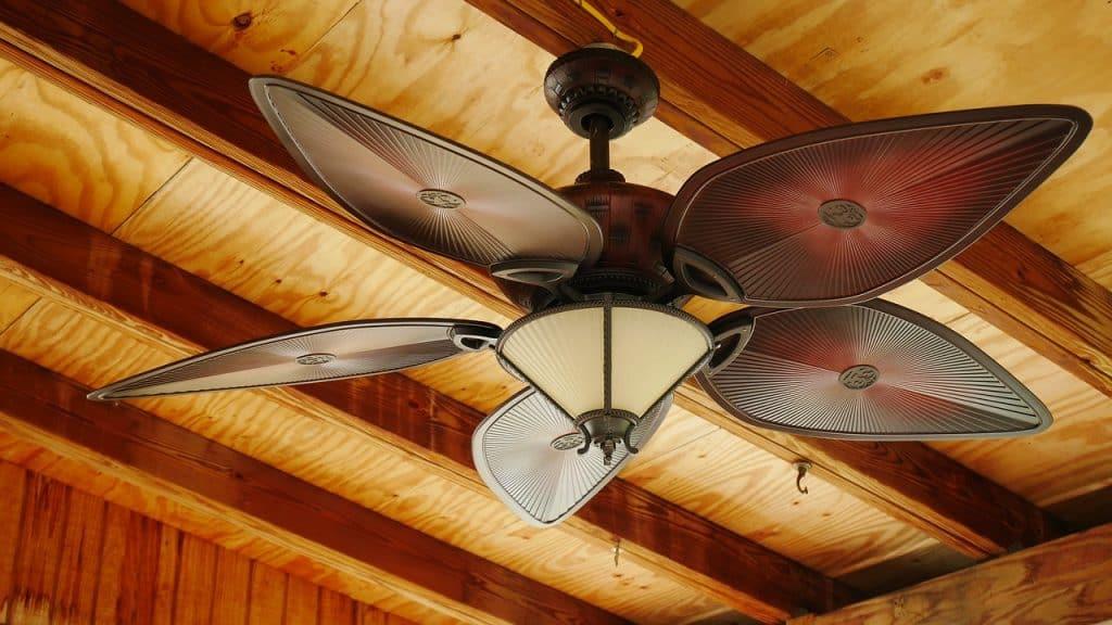 Imagem de ventilador de teto com lâmpada.