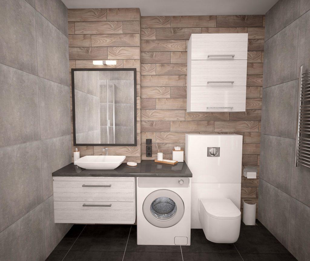 Imagem de uma centrífuga de roupas em um banheiro.