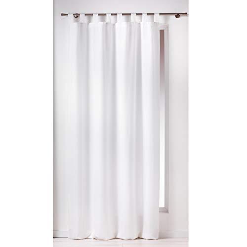 Douceur D'Intérieur - 1600515, Tenda Con Passanti , 140 X 260 Cm , Essentiel , Poliestere Unito , Bianco