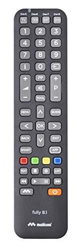 Meliconi Fully 8.1 Telecomando Universale 8 In 1 Per Tv, Decoder, SKY, Dvd/Blu Ray, Box Multimediali + Iptv e altro ancora