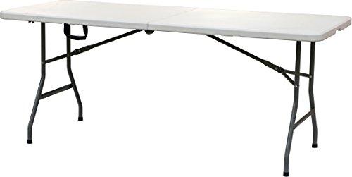 Todeco – Tavolo pieghevole 180 cm, per catering, buffet, campeggio, con manico