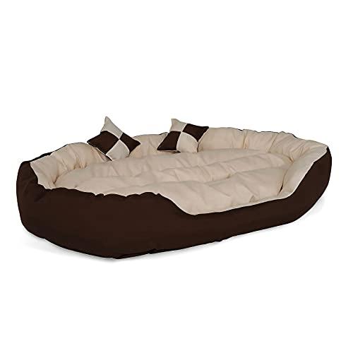 lionto by dibea Letto per cani cuscino per cani tessuto Oxford 4-in-1 design (M) 85x70 cm marrone/beige