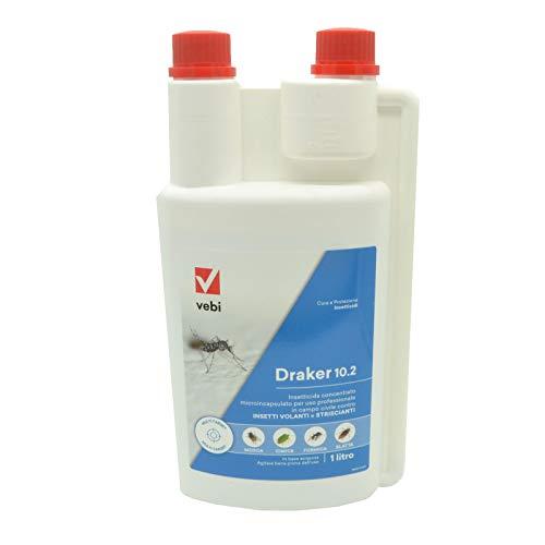 V Vebi INSETTICIDA DRAKER 102 - LT 1 ZANZARA Tigre Insetti MOLESTI - zanzare Giardino - Cipermetrina Tetrametrina Piperonilbutossido 10 g (Classico)