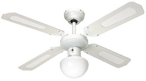 Farelek Bali 112420 Ventilatore da soffitto, 107 cm, Bianco