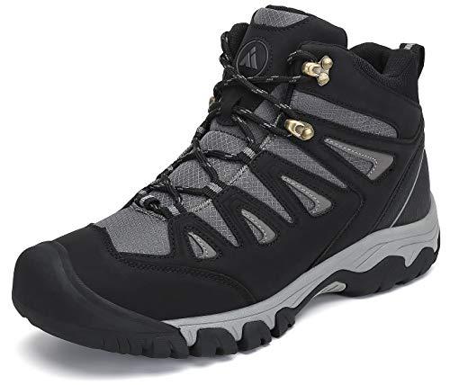 Mishansha Scarpe da Trekking Uomo Leggero e Traspiranti Scarponcini da Escursionismo Invernali Casual Alte Scarponi da Montagna Nero Gr.42