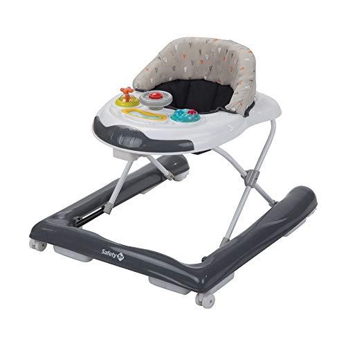 Safety 1St Bolid Girello Bambino Primi Passi per bambini da 6 mesi a 12 kg, Piano Gioco con Musica e Gioco elettronico, regolabile in altezza, Warm grey