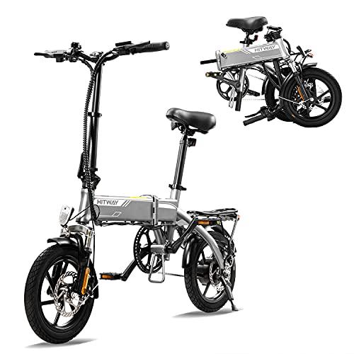 HITWAY elettrica E Bike Bici da città Bicicletta pieghevole Bicicletta in alluminio aerospaziale, batteria da 7,5 Ah, motore da 250 W, portata fino a 45 km BK3-HW (gray1)