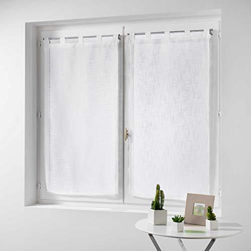 Douceur d' interno coppia destra passanti effetto lino Tisse haltona, Poliestere, Bianco, 120x 60cm