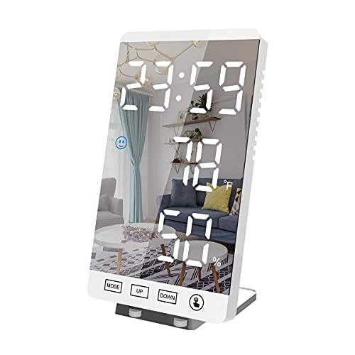 Wygard Estilo 2021 Verticale Sveglia digitale/Specchio cosmetico, 4 Livelli Luminosità e Snooze, sveglia smart 12/24H Doppi Sveglia con Porta USB, Termometro Umidità, per Camera da Letto ecc