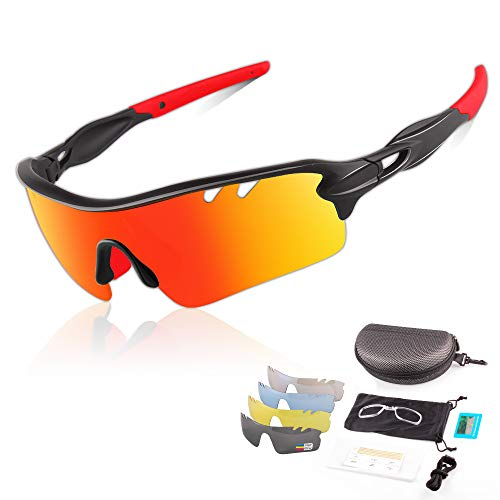 DUDUKING Occhiali da Sole Ciclismo Sportivi per Uomo e Donna con 3 o 5 Lenti Colorati Anti-UV Antivento Aviatore Specchio per Ciclismo Guida Pesca Running Golf Bici Moto