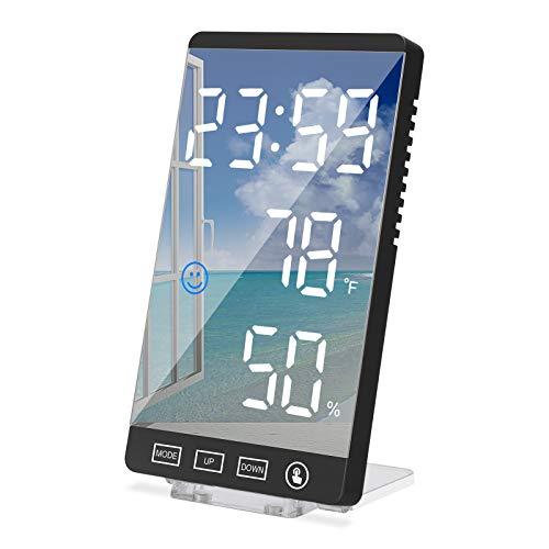 GUJIN Estilo 2021 Verticale Sveglia Digitale/Specchio Cosmetico, Orologio da Comodino con 4 Luminosità Regolabile e Snooze, Sveglia Smart 12/24H Doppi Sveglia, Termometro Umidità, per Camera da Letto