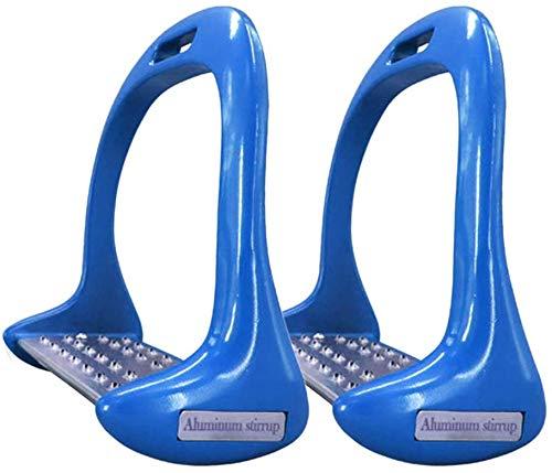 1 Paio Cavallo Staffe, Anti Infilare Alluminio Sicurezza Staffe Equitazione Cavallo Equestre Staffe - Blu
