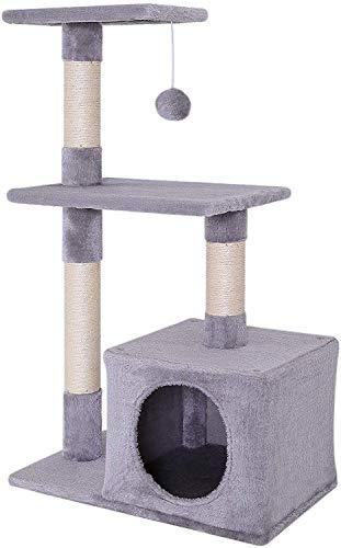 lionto by dibea Tiragraffi per gatto albero tiragraffi gatto gioco giocattolo gatti Altezza 85 cm Grigio chiaro