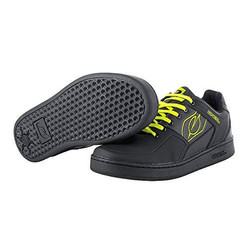 O'Neal | Scarpa da Bici | MTB Downhill Freeride | Equilibrio tra Grip e Posizionamento del Piede, Suola a Nido d'Ape | Scarpa con Pedale Piatto a Spillo | Adulto | Nero Giallo Neon | Taglia 42