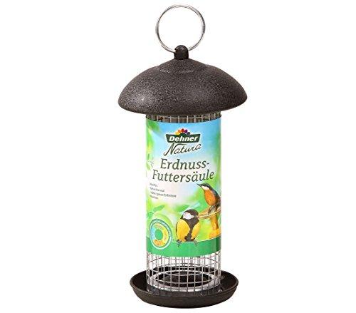 Dehner Natura, mangiatoia per uccelli selvatici, per arachidi e uva passa, circa 20 x 13 x 13 cm, in metallo, colore nero