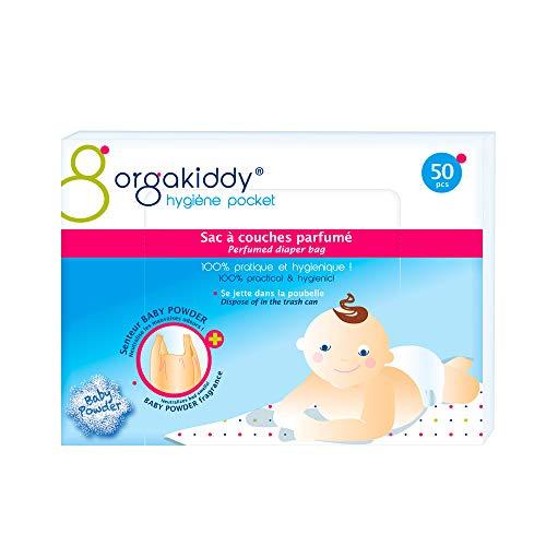 Orgakiddy - Borsa per pannolini, fragranza: Talco, 50 pezzi, colore: Beige