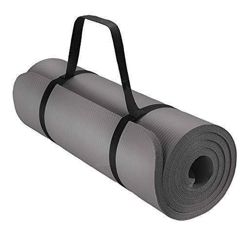 Fratelli Pesce - Tappetino MasterSoft Fitness Yoga Ginnastica Per Palestra Allenamento 180 X 60 cm Spessore 1 cm ultra morbido e resistente Materiale NBR, Grigio, 180 x 60 x 1 cm