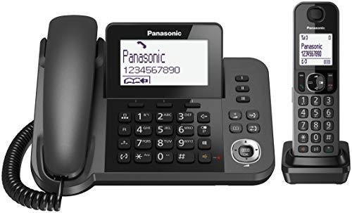 Panasonic KX-TGF310EXM Telefono a Filo e Cordless DECT Senza Segreteria Telefonica, LCD Monocromatico Bianco Inclinabile, Pulsante Blocco Chiamate, Funzionamento con Alimentazione di Emergenza, Nero