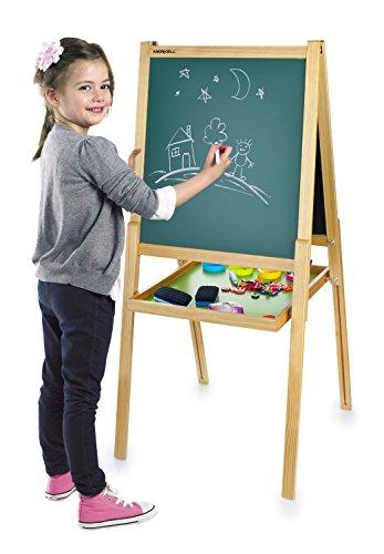 Leomark Deluxe Lavagna per Bambini, multiattività Lavagna per dipingere, Lavagna Magnetica in Legno compresi Accessori Oltre 100 Pezzi, Giocattoli educativi Regolabile, Dimensioni:60x55x130cm(A)